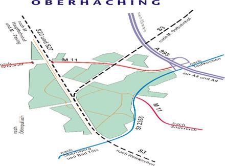 Übersichtskarte zur Verkehrsanbindung von Oberhaching
