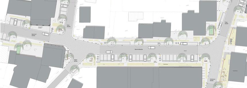 Planung der mittlerweile sanierten und umgestalteten unteren Bahnhofstraße in der Ortsmitte Deisenhofen