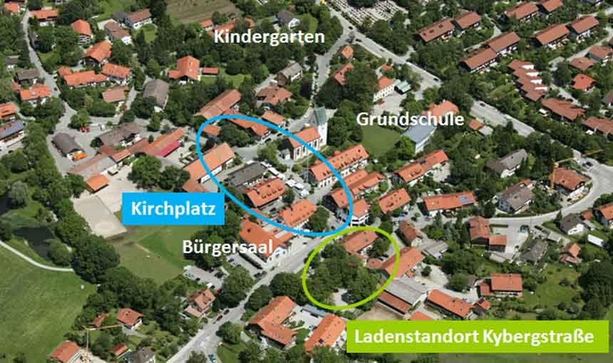 Luftbild Laden Kybergstrasse