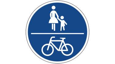 Schild gemeinsame Nutzung des Gehwegs Fußgänger und Radfahrer