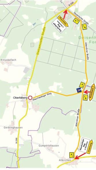 Karte Umleitungsempfehlung Baustelle Oberbiberg